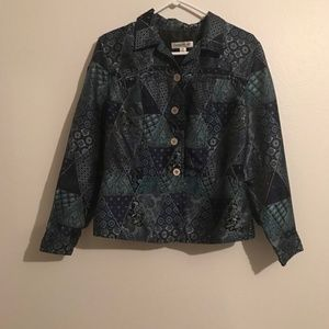Coldwater Creek blue embroidered jacket